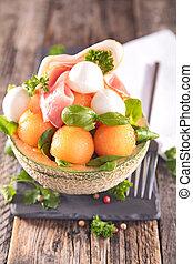 melon, mozzarella and prosciutto salad