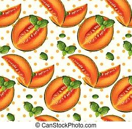 Melon pattern Vector. Summer fruits retro backgrounds