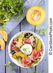 melon, prosciutto ham and mozzarella salad
