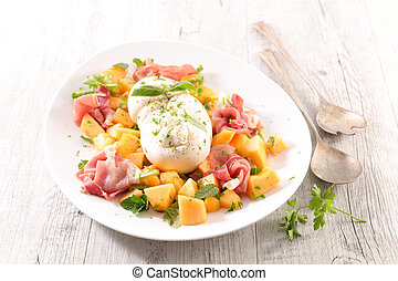 melon salad with prosciutto ham and mozzarella