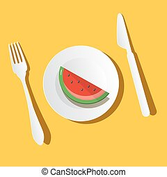 Melon Slice on Plate with Fork and Knife. Top View Vector Illustration.