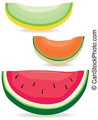 Melon slice variety - A selection of honeydew, cantaloupe...