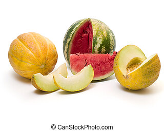 melon slices3 - melon slices isolated on white background