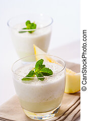 Melon smoothie - A fresh melon and mint smoothie, topped...