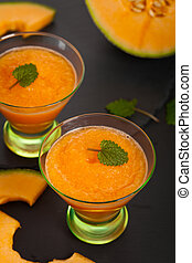 Melon Smoothie Drink - Cantaloupe Melon Smoothie. Selective...