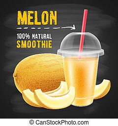 Melon smoothie in disposable plastic cup with a sphere dome...