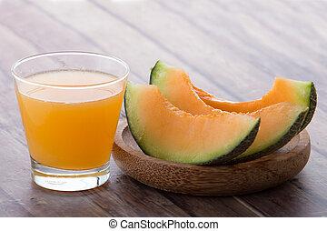 Melon smoothie - A potrait of a glass melon smoothie
