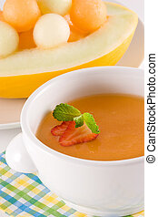 Melon Soup - Melon soup garnish with strawberry and mint