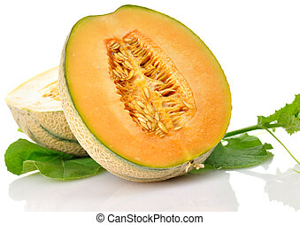 melon - A fresh and delicious melon with leaves on white...