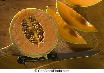 melon - yellow melon on table close up shoot