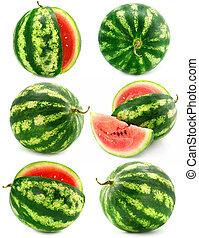 melon vand, isoleret, samling, frugter
