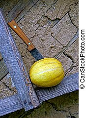 melon with a knife on a wooden board near the wall