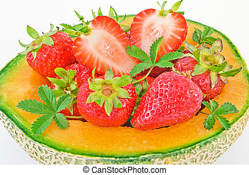 melon with strawberries