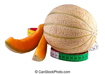 melon with tape measure, isolated on white