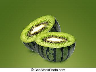 melone acqua, dentro, kiwi