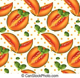 melone, modello, vector., frutte estate, retro, sfondi