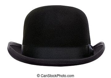 melonik, cięty, kapelusz, poza