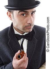 melonik, człowiek, rura, kapelusz, tytoń