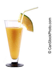 melons ginger smoothie with drinking straw portrait - yellow...