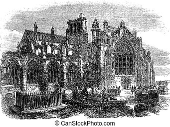 Melrose Abbey, Scotland, vintage engraving - Melrose Abbey,...
