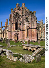 Melrose Abbey, Scottish Borders - Melrose Abbey in the...