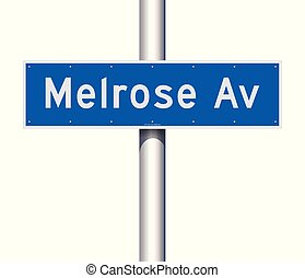 Melrose Avenue road sign - Vector illustration of the...