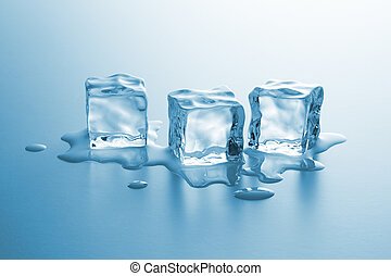 A group of three clear ice cubes melting with drops of water. Taken in Studio.