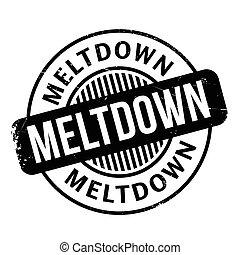 Meltdown rubber stamp. Grunge design with dust scratches....