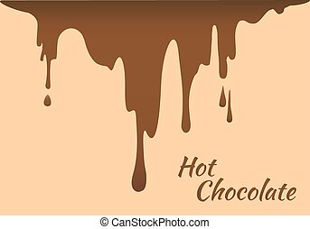 Melted brown hot chocolate flow down
