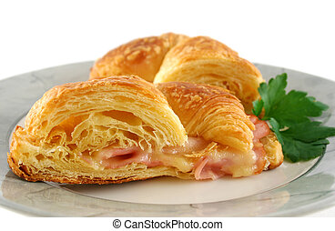 Melted Cheese Croissant 6 - Hot melted cheese and ham...