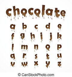Melted chocolate alphabet over white background. Lowercase...