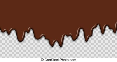 melted chocolate dripping on transparent background for your design