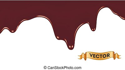 Melted chocolate dripping. Seamless vector illustration of ... Melted Chocolate Clip Art