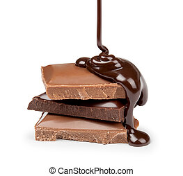 melted chocolate is poured on a stack of milk and dark chocolate