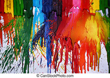 Photograph of some melted colorful art crayons