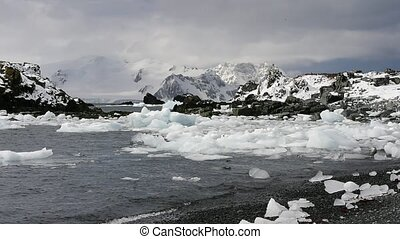 Melted Glacial Ice in Moving Water Halfmoon Island,...