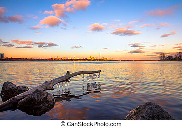 Melted ice at the end of winter season. Location: Humber Bay...
