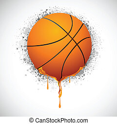 Melting Basketball - illustration of melting basket ball on...