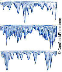 melting blue icicles - collection of three blue shade...