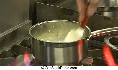Melting butter on a flaming hot stove