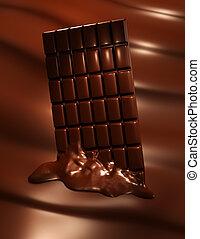 Melting chocolate bar - 3D render of melting chocolate bar...