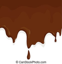 Melting chocolate - Chocolate melting and dripping. Vector...
