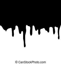 Melting chocolate dripping on white background. Vector illustration.