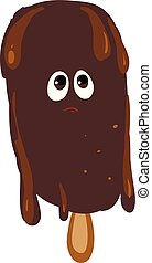 Melting chocolate ice cream vector or color illustration