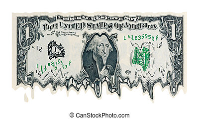 Melting Dollar concept for weak currency isolated in white