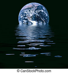 Conceptual image of melting earth symbolic of global warming and climate change.