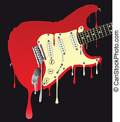 A traditional rock guitar melting down
