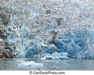 Melting glacier. - Melting glacier face, Aklaska.