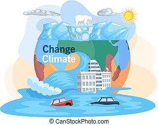 Melting glaciers, global warming, sea level rose and flooded cities, ecological catastrophy. Saving Earth and environmental care. Earth with reasons of destroying. Planet suffers from human activity