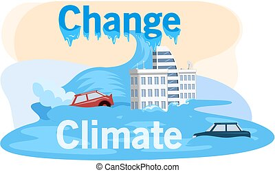 Melting glaciers, global warming, sea level rose and flooded cities, ecological catastrophy. Saving Earth and environmental care. Planet with reasons of destroying. Land suffers from human activity